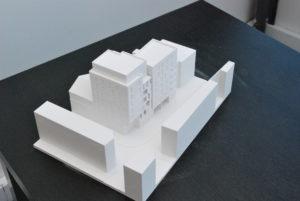 Maquette d'étude de projet d'architecture en impression 3D blanche